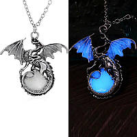 Ретро-игра из тронов Таргарин Дракон. Люминесцентное серебряное ожерелье в форме дракона с с голубым свечением