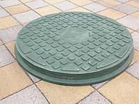 Люк канализационный полимерпесчанный пешеходный зеленый, фото 1