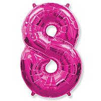 Фольгированные шары цифры - цифра 8 fuchsia 100см FlexMetal