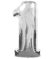 """Шар фольгированный """"1"""", 100 см, серебро"""