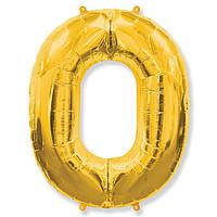 Фольгированные шары цифры - цифра 0 gold 100см FlexMetal