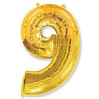 Фольгированные шары цифры - цифра 9 gold 100см FlexMetal