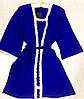 Комплект халат и пеньюар с кружевом 003 синий