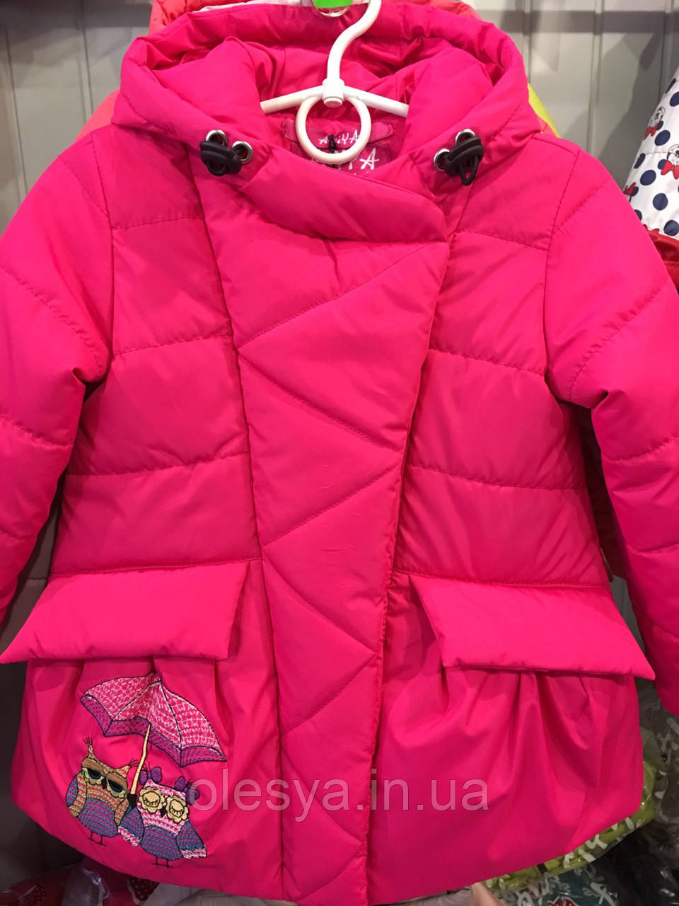 """Детская демисезонная куртка на девочку """"Совушки"""". Размеры 26 -32"""