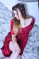 Женская ночная рубашка с нежным кружевом, длина миди