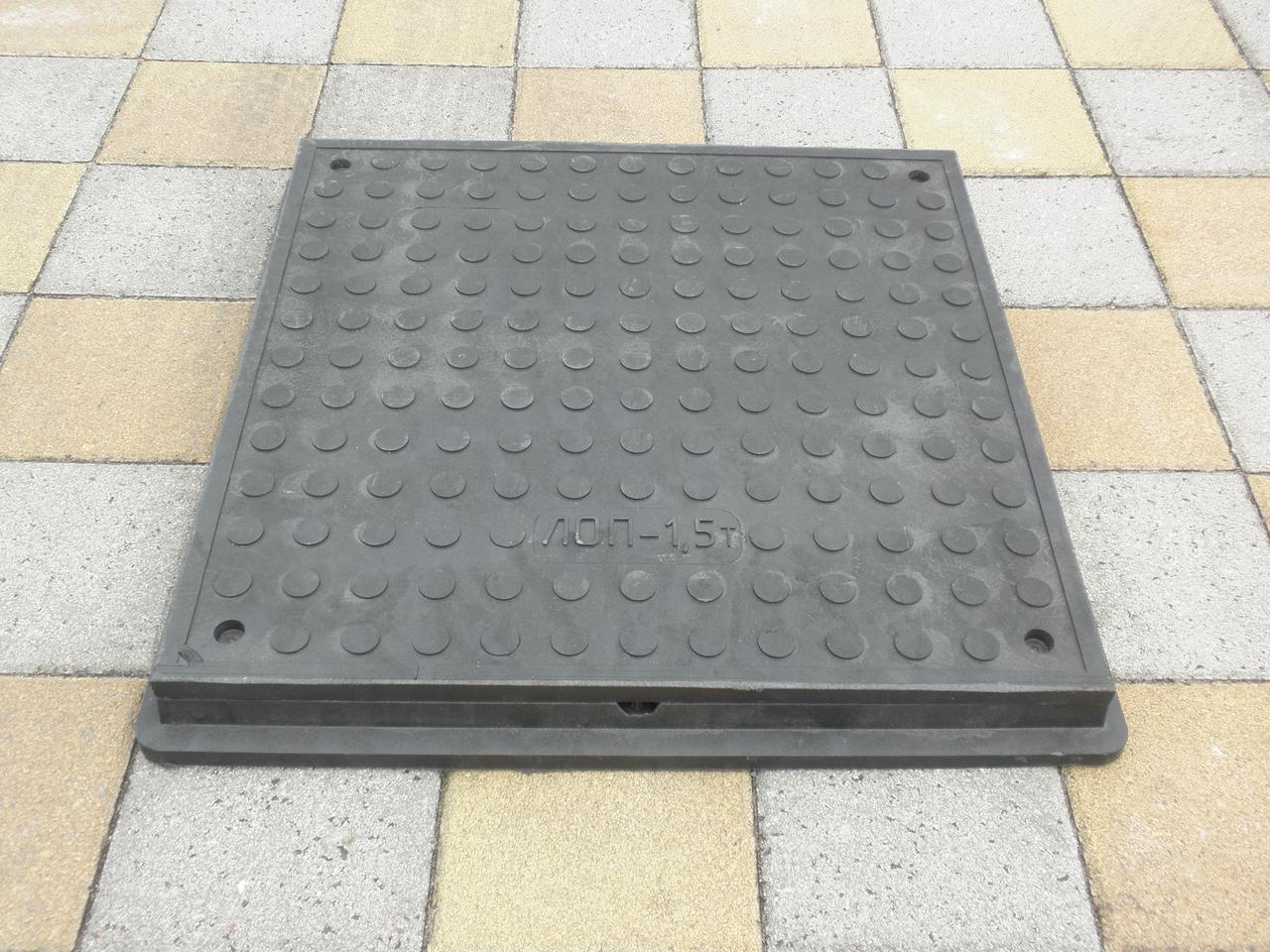 Люк канализационный полимерпесчаный пешеходный квадратный черный