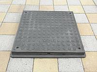 Люк канализационный полимерпесчаный пешеходный квадратный черный, фото 1