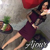 Платье встьавки сетка горох  Мод.032 (НИК)