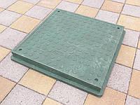 Люк канализационный полимерпесчаный пешеходный квадратный зеленый, фото 1