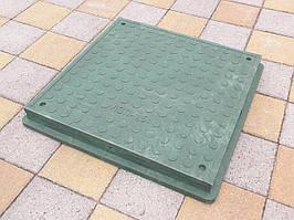 Люк канализационный полимерпесчаный пешеходный квадратный зеленый
