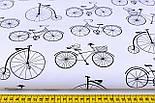 """Ткань хлопковая чёрно-белая """"Велосипеды с воробьями"""", №1170, фото 2"""