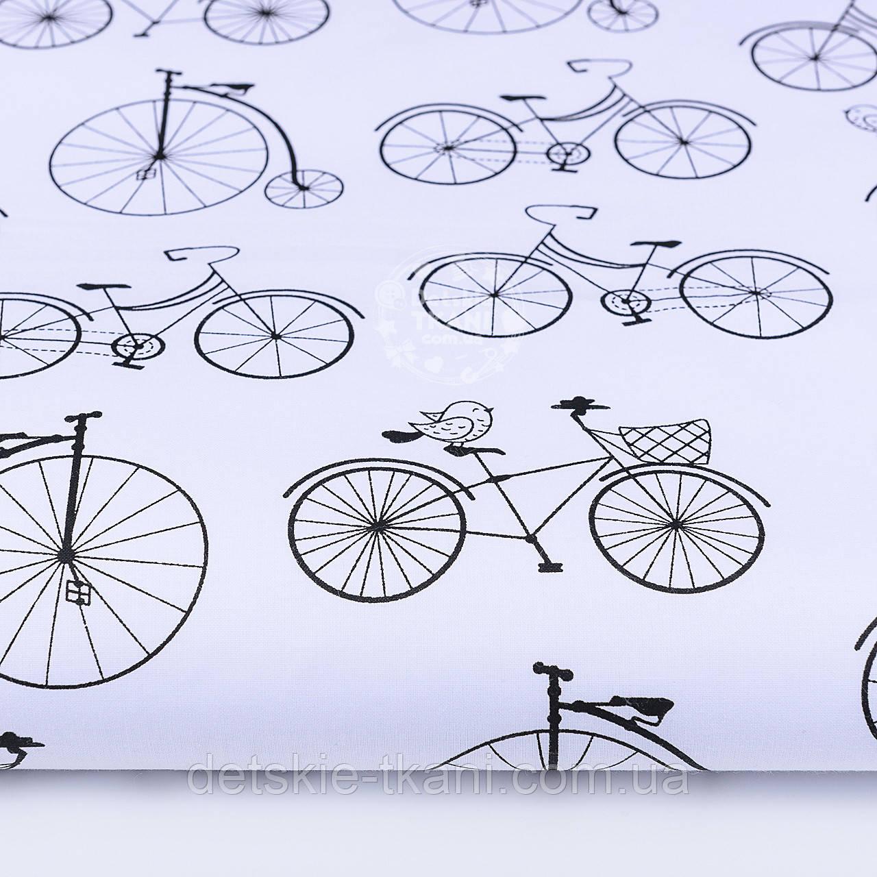 """Ткань хлопковая чёрно-белая """"Велосипеды с воробьями"""", №1170"""