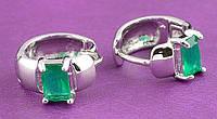 """Элегантные серьги-кольца с зелеными  фианитами """"Надежда"""" от студии LadyStyle.Biz"""