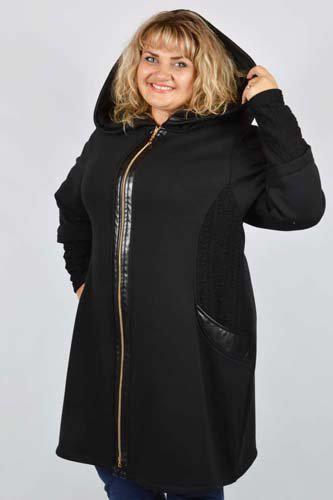Пальто плащ на плюше с капюшоном (64-70)