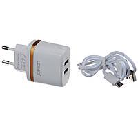 "Адаптер на 2USB 2.4A ""LDNIO""DL-A052+ Usb кабель"