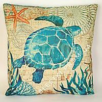 Подарочная подушка бежевая с голубой черепахой 45х45см