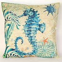 Подарочная подушка морской конек 45х45см
