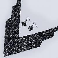 Колье, Черная кольчуга, Оригинальная форма, Серьги