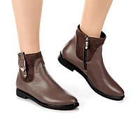 Женские ботинки (8069.1) 36, 37, 38, 39, 40 - демисезонные кожаные кофейные на низком ходу