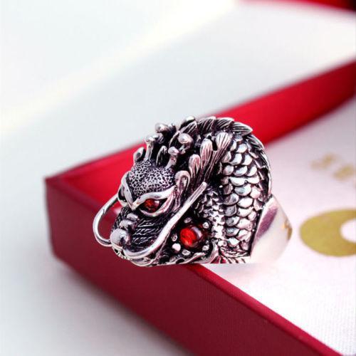 Кольцо из тибетского серебра с драконом.