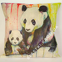 Подушка для дивана из льна с принтом панда 45х45см