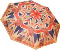 Женский складной зонт полуавтомат (принт красный)