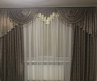 Новинка! Комплект для спальни, зала.Ламбрекен + шторы.Из плотной жаккардовой ткани.