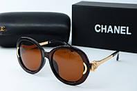 Солнцезащитные очки круглые Chanel коричневые, фото 1