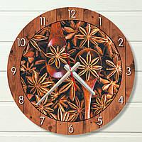 """Настенные часы на кухню - """"Звёздный анис """" (на пластике)"""