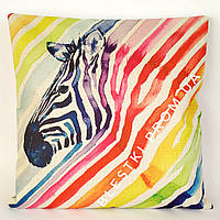 Радужная подушка для дивана с принтом зебра 45х45см