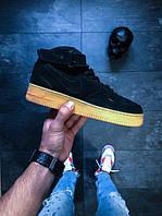 Черные утепленые кроссовки Nike Air Force - Winter
