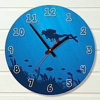 "Настенные часы - ""Дайвинг"" (на пластике)"