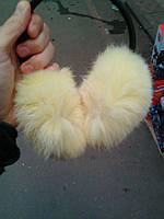 Женские меховые наушники из натурального меха кролика Светло-желтый