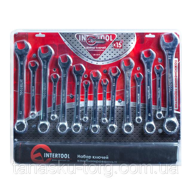 Набор комбинированных ключей 15шт INTERTOOL XT-1514 , в брезенте