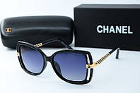 Солнцезащитные очки прямоугольные Chanel черные, фото 1