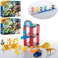 Трек 8899-96 машинка, динозавр, краски, кисточки, 4 цвета, кор., 31,5-24-7 см.