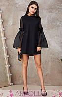 Женское стильное черное платье, фото 1