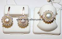 Серьги и кольцо серебро жемчуг Сара