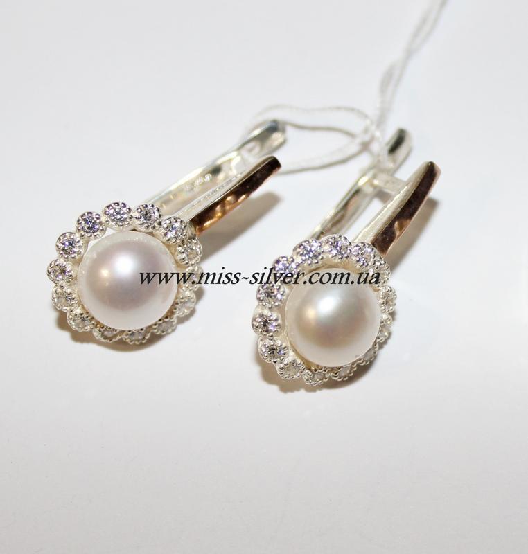 Серебряные сережки с жемчугом Сара