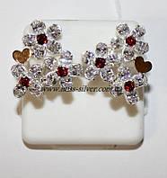 Серебряные серьги с цветами Мариса