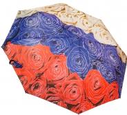 Женский складной зонт полуавтомат (розы)