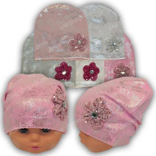 Детские вязаные шапки для девочек, р. 46-48