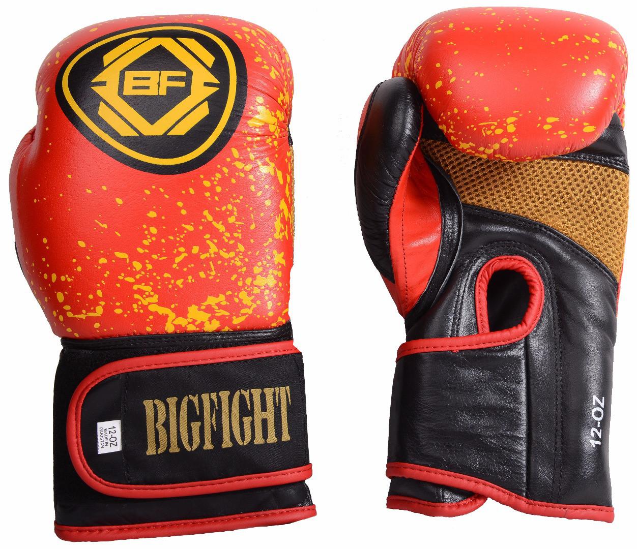 Перчатки красно-желтые BigFight кожа 10ун, 12ун