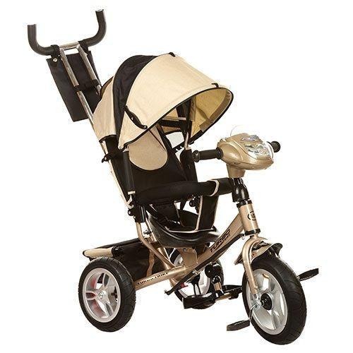 Детский 3-х колесный велосипед Turbo Trike с фарой и ключом зажигания M 3115-7HA Бежевый