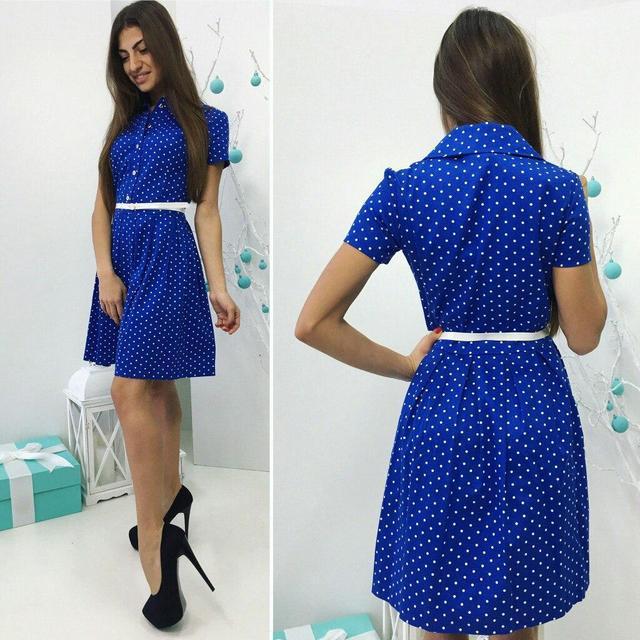 Платье, модель 738, цвет - ярко синий в горошек