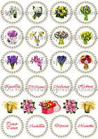 Печать съедобного фото для капкейков - 8 Марта - Ø5 см - Вафельная бумага - Весенние цветы