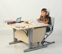 Детская парта-трансформер Дэми СУТ.14-01 + ортопедический стул, цвет клен/серый. Гарантия 3 года.