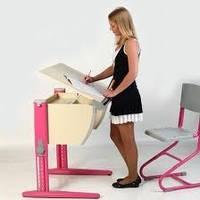 Детская парта Дэми СУТ.14-00 + стул СУТ.01,  цвет клен/розовый