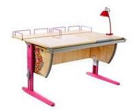 Детская парта Дэми с тумбой СУТ.15-04  (рисунок цветы) + ортопедический стул, цвет клен/розовый