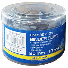 Бiндер 25мм, 12шт., Туба, серый BM.5357-09
